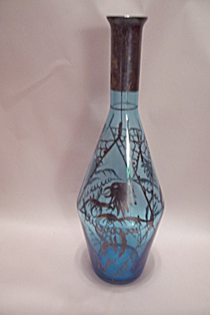 Light Blue Hand Blown Art Glass Bottle