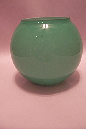 Hand Blown Light Green Art Glass Bubble Vase (Image1)