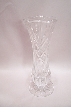 Crystal Pattern Glass Pedestal 6-sided Bud Vase