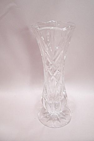 Crystal Pattern Glass Pedestal 6-Sided Bud Vase (Image1)