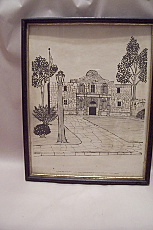 The Alamo, Tx Framed Drawing Print By E. F. Sanzari