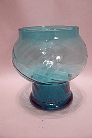 Hand Blown Light Blue Bulbous Art Glass Vase