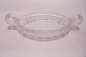 Crystal Pattern Glass Gondola Relish Dish