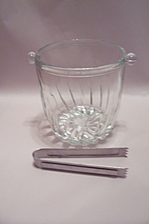 Crystal Glass Ice Bucket With Tongs