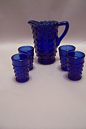 Small Cobalt Blue Hobnail Pitcher W/four Glasses