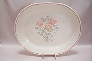 Corning Corelle Pink Tulip Oval Platter (Image1)
