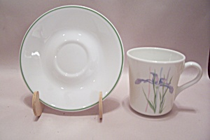 Corning Corelle Iris Decorated Glass Cup & Saucer Set