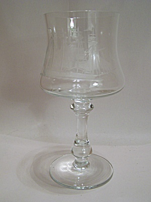 Clipper Ship Crystal Wine Glass