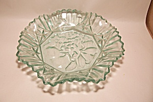 Aqua Colored Pattern Glass Centerpiece Fruit Bowl