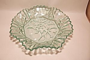 Aqua Colored Pattern Glass Centerpiece Fruit Bowl (Image1)