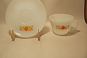 Fire King/anchor Hocking Flower Decorated Cup & Saucer