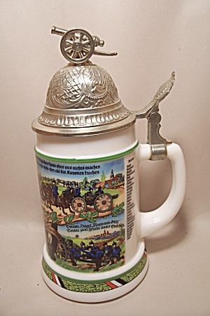 German Milk Glass Artillary Military Unit Beer Stein (Image1)