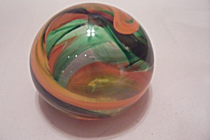J. B. Handmade Orange & Green Swirl Glass Paperweight