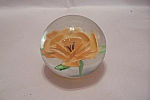 Yellow Flower Handmade Art Glass Paperweight (Image1)