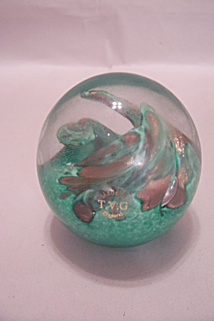 Tvg Green & Gold Flecks Art Glass Paperweight
