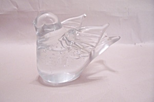 Crystal Art Glass Controlled Bubbles Bird Paperweight (Image1)