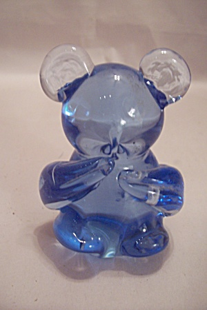 Blue Art Glass Mouse