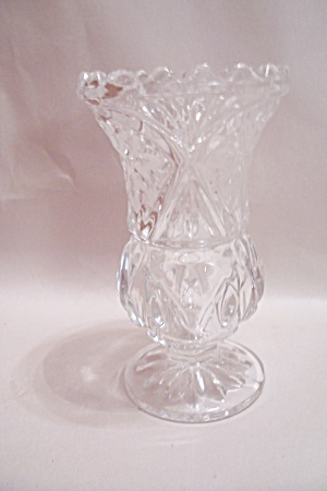 Crystal Pattern Glass Pedestal Vase