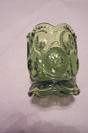 Green Glass Daisy & Button Pattern Toothpick Holder (Image1)