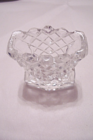 Crystal Glass Diamond Cut Pattern Toothpick Holder