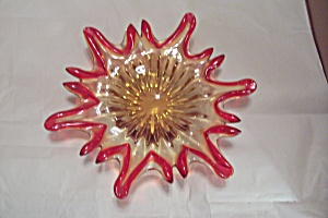Murano Red & Gold Cased Art Glass Starburst Folded Bowl