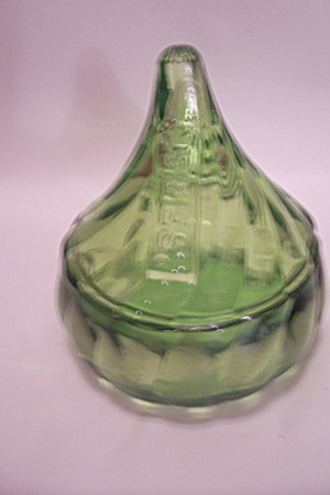Hershey Kisses Green Glass Lidded Candy Dish