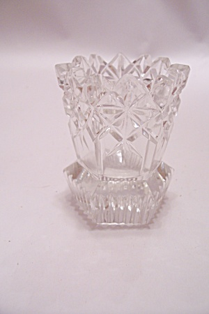 Crystal Pattern Glass Bowl With Chrome Rim