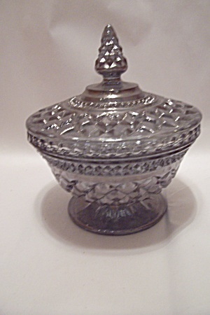 Smoky Topaz Pattern Glass Lidded Candy Dish
