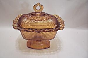Amber Glass Lidded Pedestal Candy Dish (Image1)