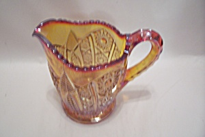 Imperial Carnival Glass Footed Daisy & Button Creamer