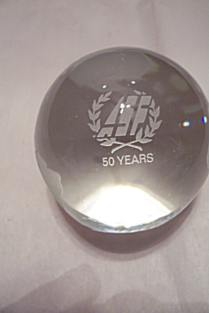 Asf Crystal Glass Earth Round Paperweight