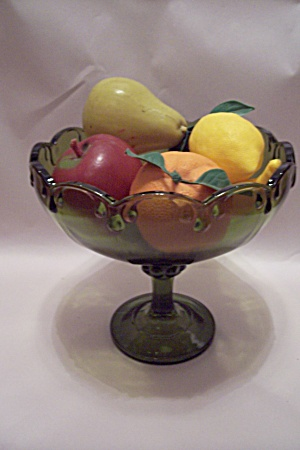 Avocado Green Glass Pedestal Fruit Bowl w/Fruit (Image1)