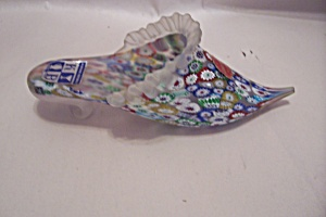 MURANO Handblown Cased Multi-Colored  Glass Slipper (Image1)