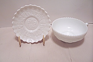 Grape Pattern Milk Glass Soup Cup & Saucer (Image1)