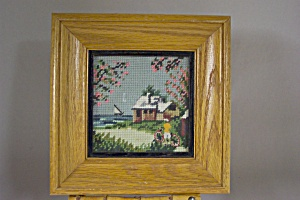Framed Domestic Scene Needlepoint Picture (Image1)