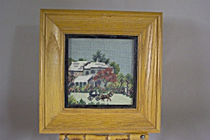 Framed Rural Domestic Scene Needlepoint Picture