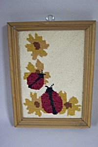 Framed Ladybug Needlepoint Picture