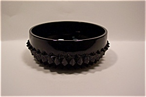 Black Glass English Hobnail Bowl (Image1)