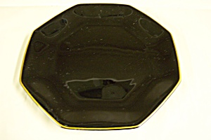 Octagon Shaped Black Glass Salad Plate (Image1)