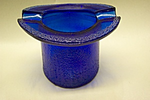 Advertising Cobalt Blue Glass Hat Ashtray