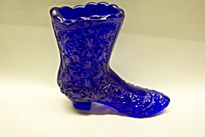 Cobalt Blue Daisey & Button Glass High Top Shoe