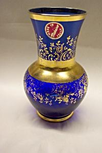 Cobalt Blue MURANO Gilt Trimmed Bulbous Vase (Image1)