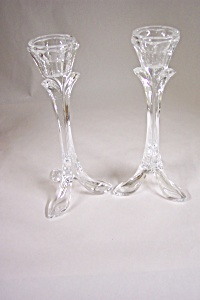 Pair Of Lead Crystal Glass Candle Holders