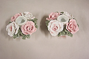 Pair Of Floral Pattern Glass Candle Holders (Image1)