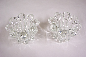 Pair Of Crystal Glass Candle Holders
