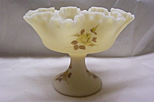 FENTON Hand Painted Opaque Vaseline Art Glass Compote (Image1)