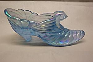 FENTON Light Blue Carnival Glass Lady's Slipper (Image1)
