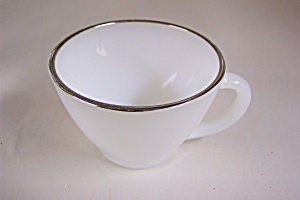 Fire-king Silver Rimmed Tea Cup