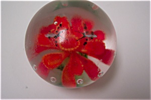Orange Flower With Butterflies Paperweight (Image1)