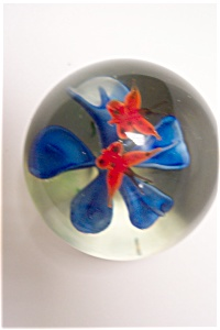 Butterflies Over Blue Flower Paperweight (Image1)